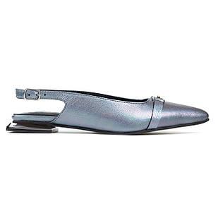 Стильные босоножки 35-40 Woman's heel серые из натуральной кожи с закрытым носком