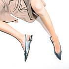 Стильные босоножки 35-40 Woman's heel серые из натуральной кожи с закрытым носком, фото 4