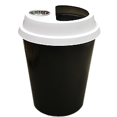 Урна-стакан чёрная и белая крышка с пепельницей, 108 л