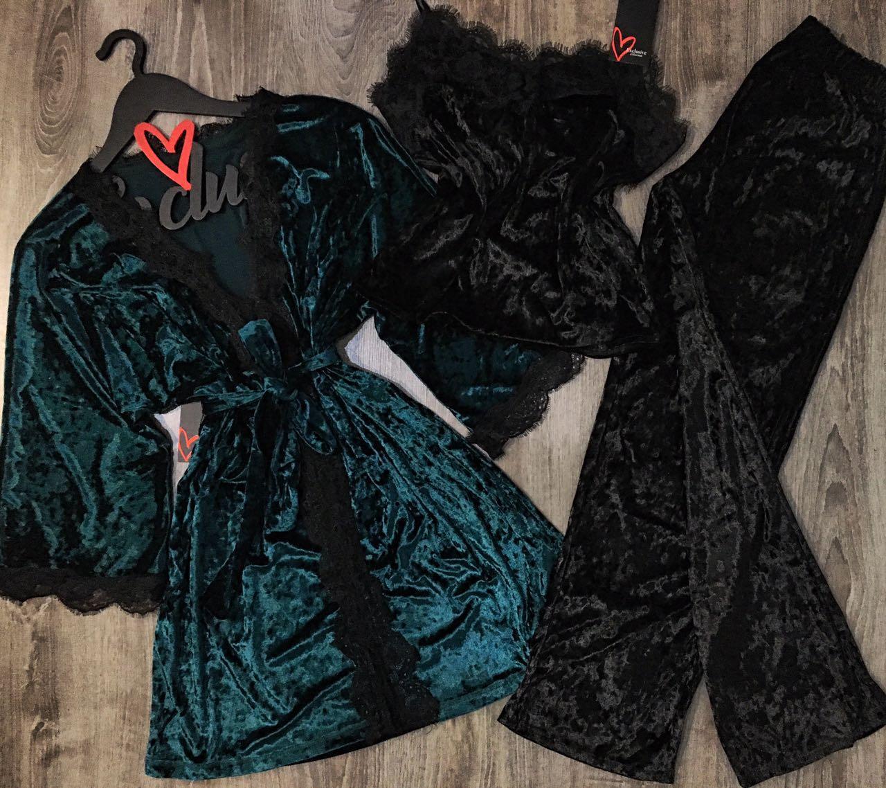 Пижама женская штаны и майка+халат-велюровый набор одежды для дома.