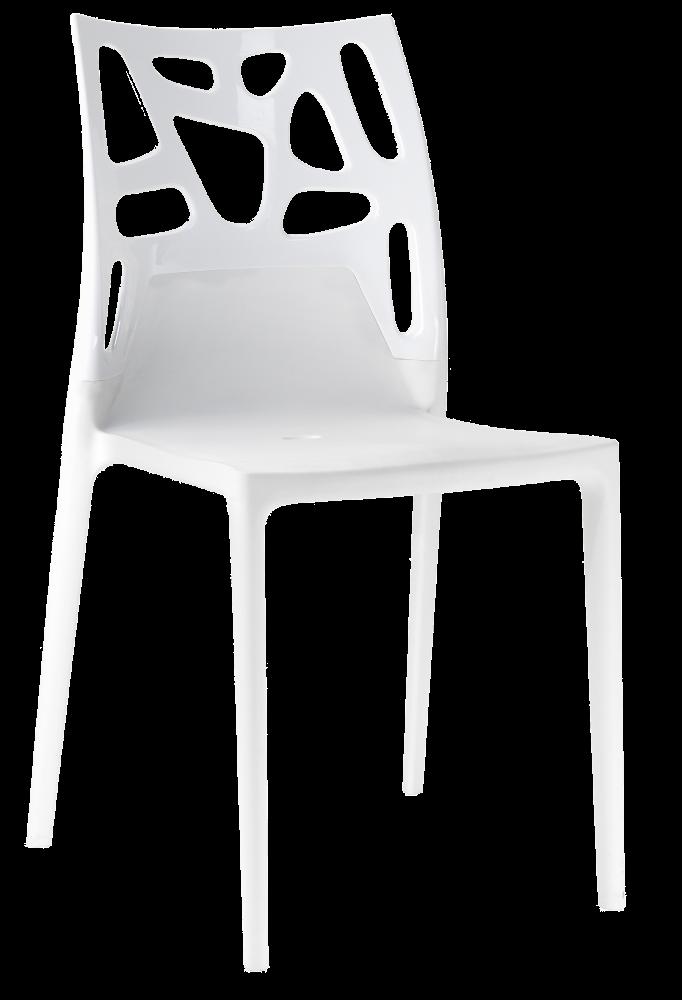Стул Papatya Ego-Rock белое сиденье, верх белый