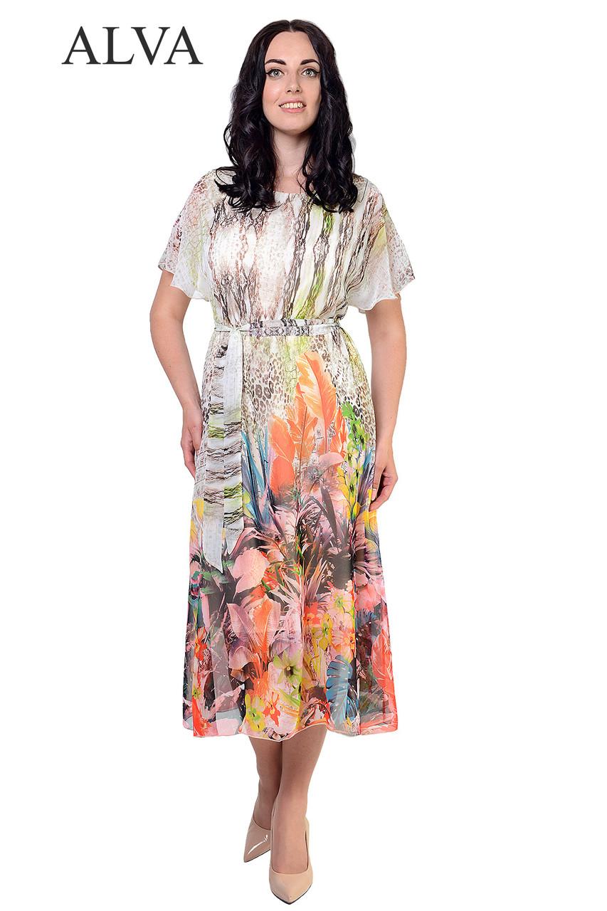 Струящееся платье яркого,разного принта.