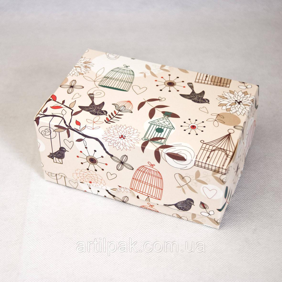 Коробка-контейнер 180*120*80 фон ПТАШКИ