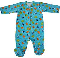 Чоловічок монстрики бірюзовий з довгим рукавом для немовлят