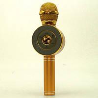 Беспроводной микрофон караоке блютуз WSTER WS-668 Bluetooth динамик USB Золотой, фото 1