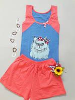 Одежда домашняя майка шорты пижама с кошечкой женская Mody
