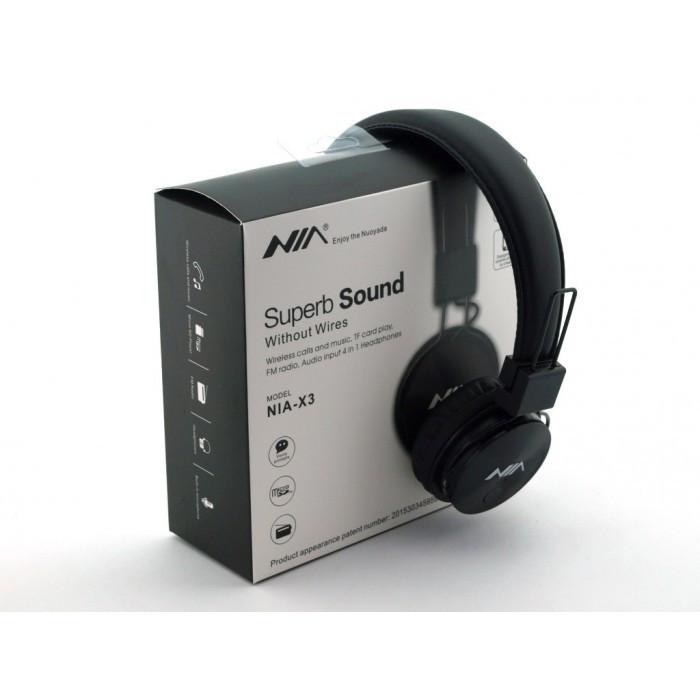 Беспроводные Bluetooth Наушники с MP3 плеером NIA-X3 Радио блютуз Чёрные ( 88288 )