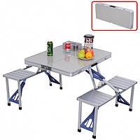 Алюминиевый стол для пикника раскладной со 4 стульями Folding Table 85х67х67 см (Серебристый)