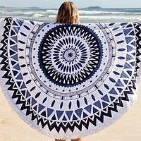 """Пляжный коврик """"Мандала"""" (155 см) сине-черный"""