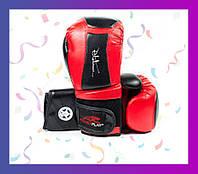 Боксерские перчатки PowerPlay 3020 Червоно-Чорні [натуральна шкіра] + PU 16 унцій
