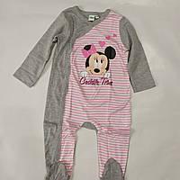 Человечек, слип для ребенка серый Minni Disney baby (Индия) р.74/80