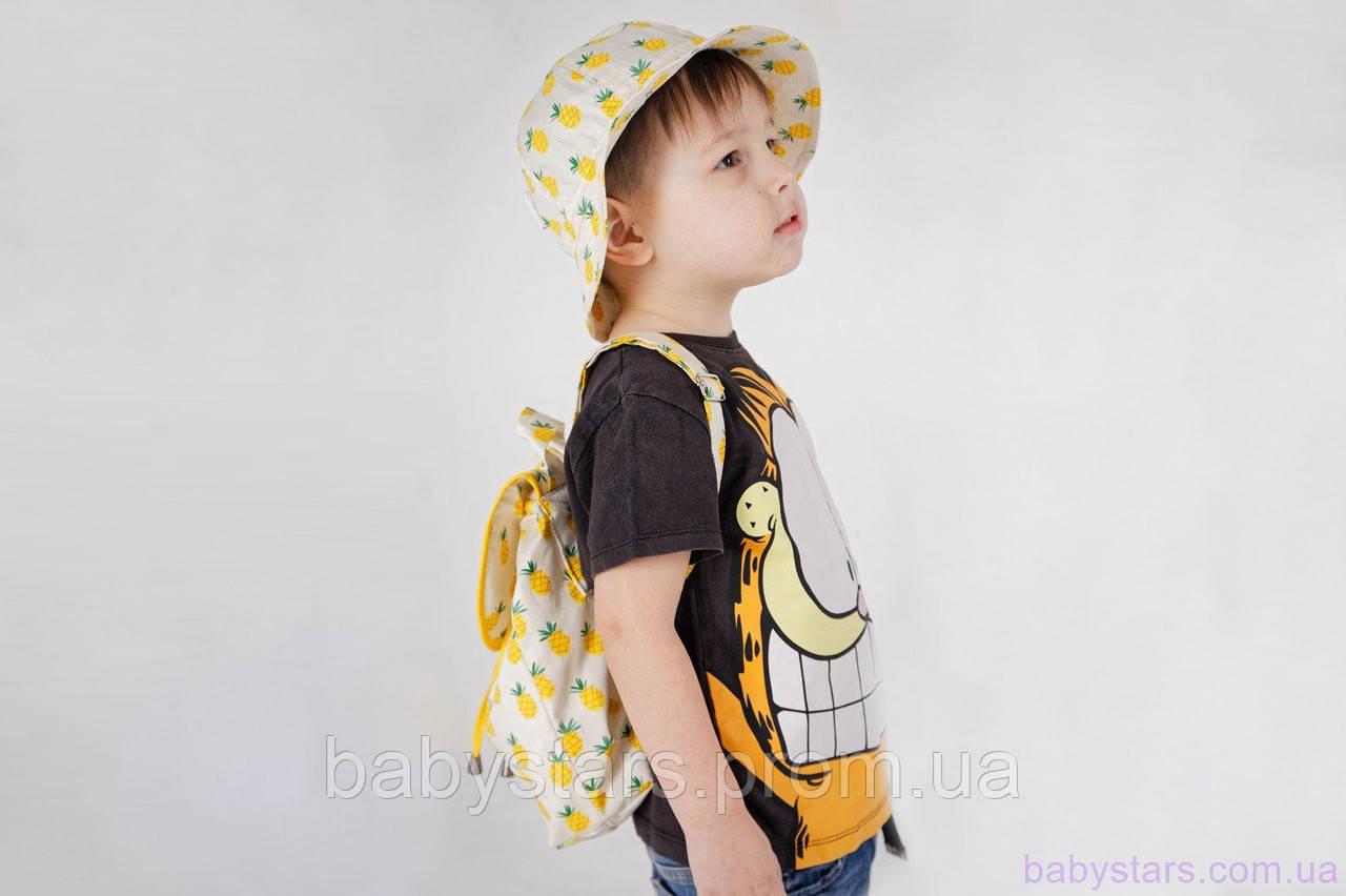 """Детские рюкзачки для мальчиков + панама, """"Ананасы"""""""
