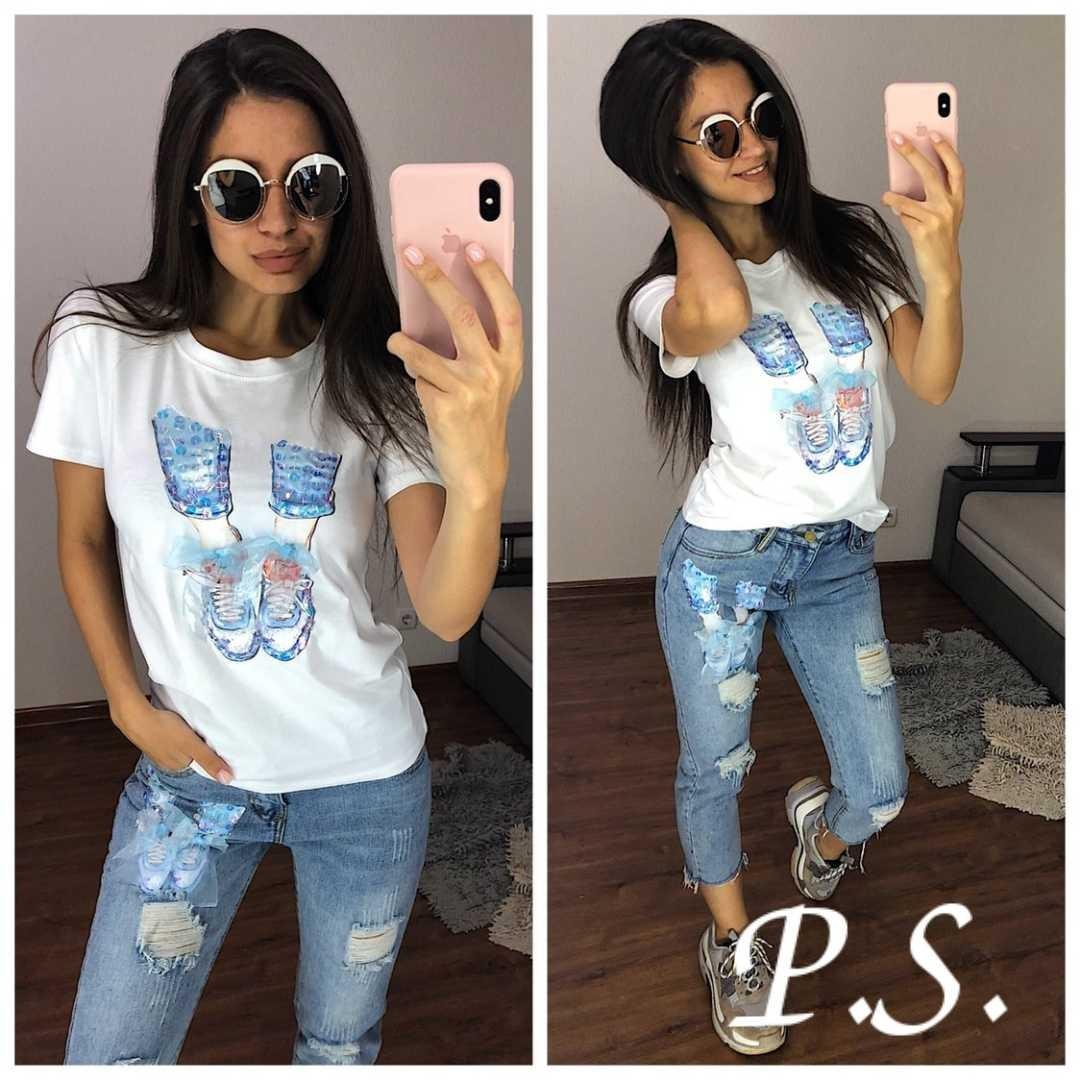Женский костюм джинсы и футболка с рисунком 76101360
