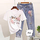 Женский костюм джинсы и футболка с рисунком 76101360, фото 2