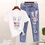 Женский костюм джинсы и футболка с рисунком 76101360, фото 4