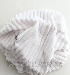 Плюшевая ткань Minky Stripes белого цвета 160 см