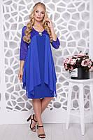 Нарядное женское платье с имитацией накидки батал с 50 по 58 размер