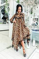 Шикарное нарядное жеское  платье ассиметрия леопардовый принт до 54-го размера