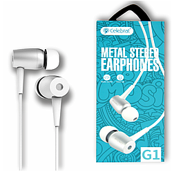 """Навушники """"Celebrat G1"""" з мікрофоном силікон круглий дріт, білий"""