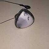 Дендро-агат кольцо капля дендритовый опал размер 19-19,5 кольцо с дендро-опалом в серебре Индия, фото 3