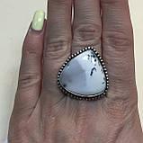 Дендро-агат кольцо капля дендритовый опал размер 19-19,5 кольцо с дендро-опалом в серебре Индия, фото 5