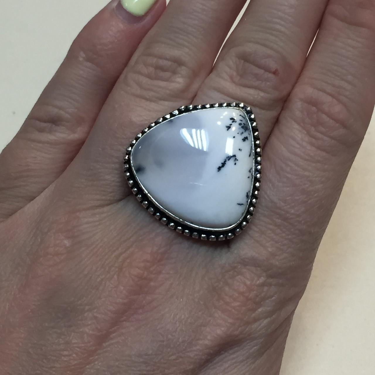 Дендро-агат кольцо капля дендритовый опал размер 19-19,5 кольцо с дендро-опалом в серебре Индия