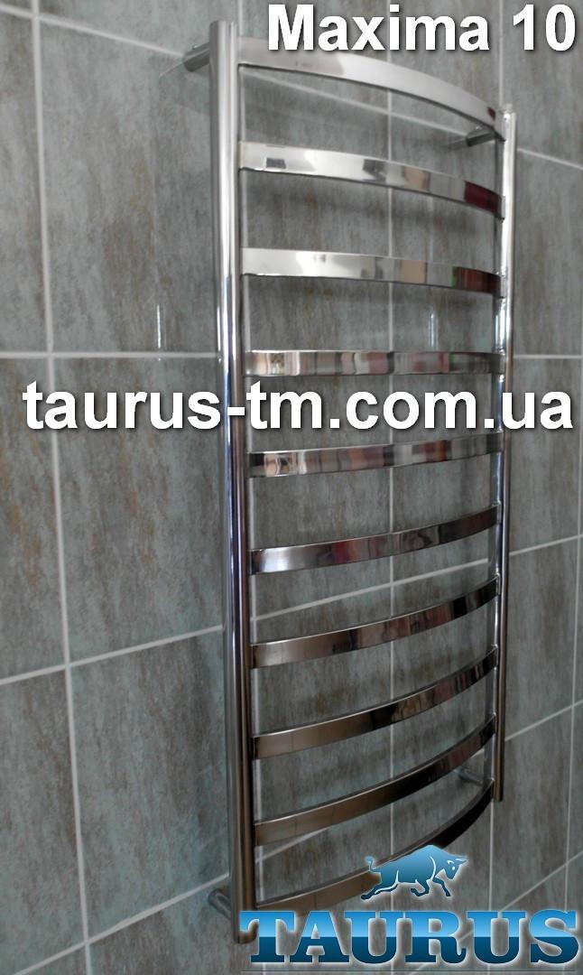 Узкий нержавеющий полотенцесушитель Maxima 10/1050х400 с широкой дугообразной перемычкой 30х10. Вода + электро