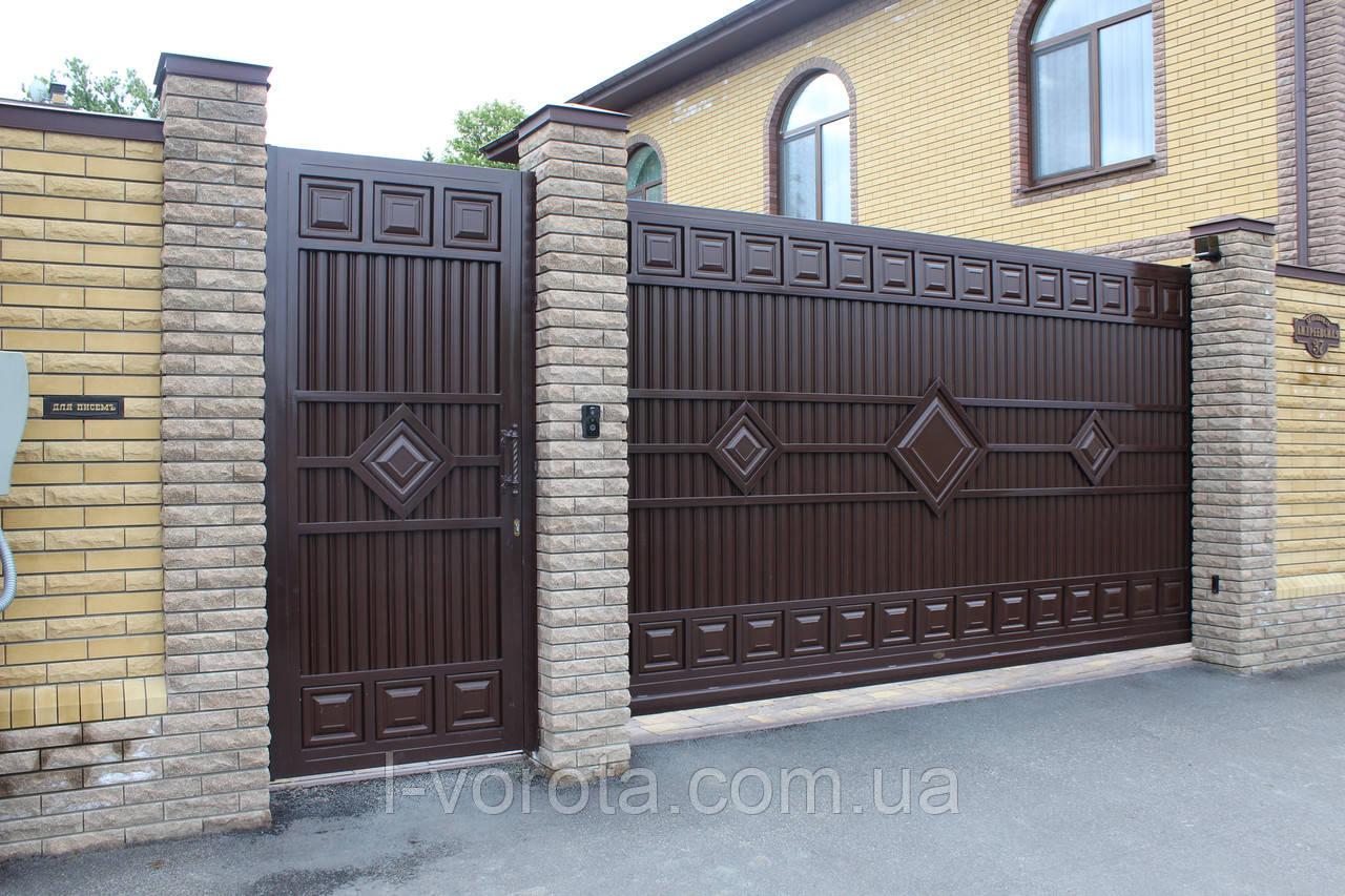 Откатные (сдвижные) ворота ТМ HARDWICK ш3500, в2100 (дизайн ЛЮКС)