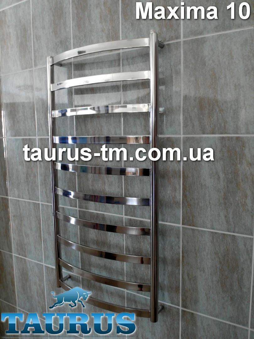 Шикарный полотенцесушитель Maxima 10/1050х500 мм. из полированной н/ж стали с широкой плоской перемычкой 30х10