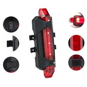 Велосипедная фара, маячок, задний стоп, LED фонарь универсальный, аккум. Li-ion, micro USB, красный
