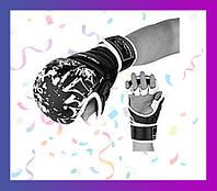 Перчатки для карате PowerPlay 3092KRT Чорні-Білі M