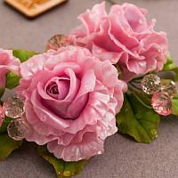 """Комплект """"Розовые кружева"""" ( колье, серьги, кольцо, бутоньерка, шпильки для волос)"""