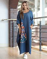 Сукня «Будиночки» льон , фото 1