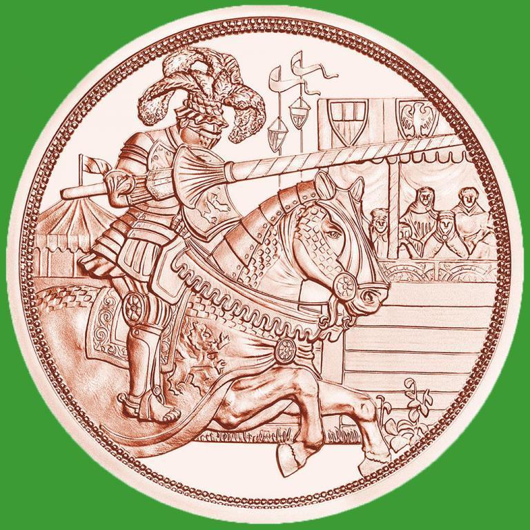 Австрия 10 евро 2019 г. «Рыцарство» — 1-я монета серии «С кольчугой и мечом»