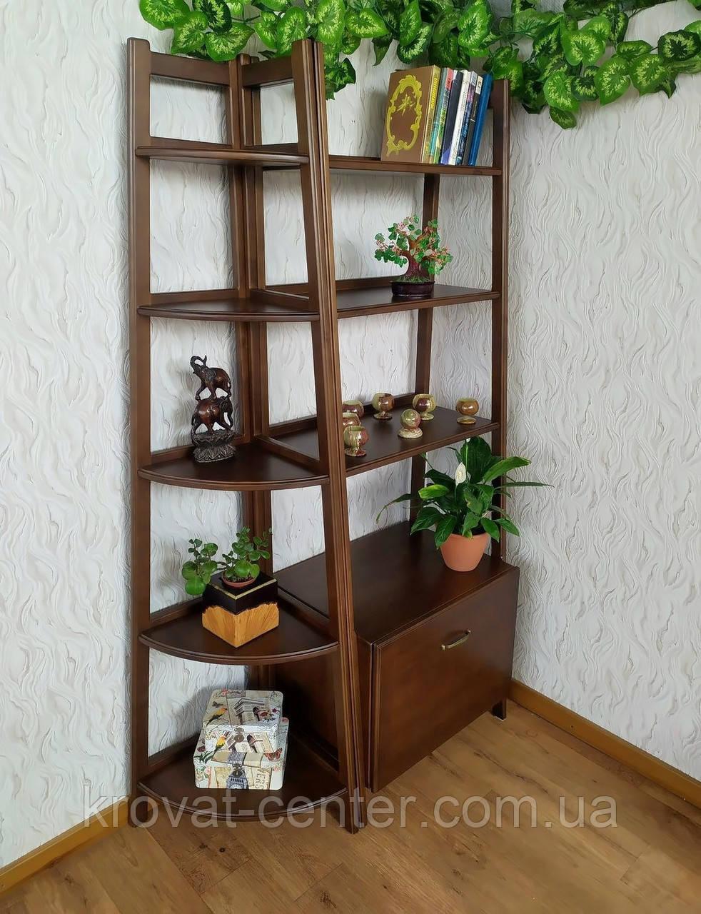 """Стеллаж этажерка из массива натурального дерева от производителя """"Лофт Премиум"""" Орех лесной"""