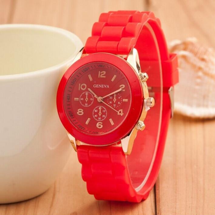 Красные силиконовые женские часы Geneva