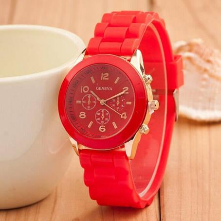 Красные силиконовые женские часы Geneva, фото 2