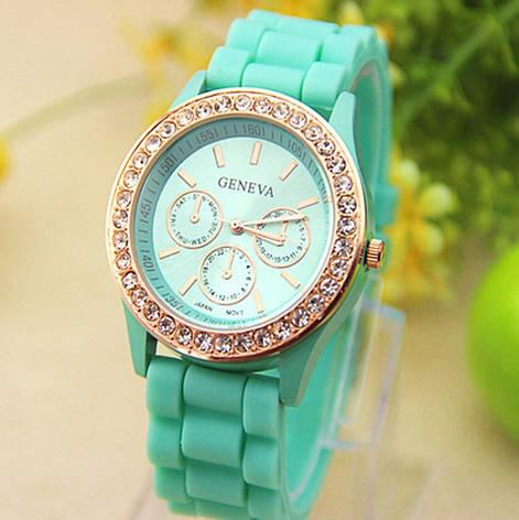 Женские наручные часы Geneva Swarovski мятные, фото 2