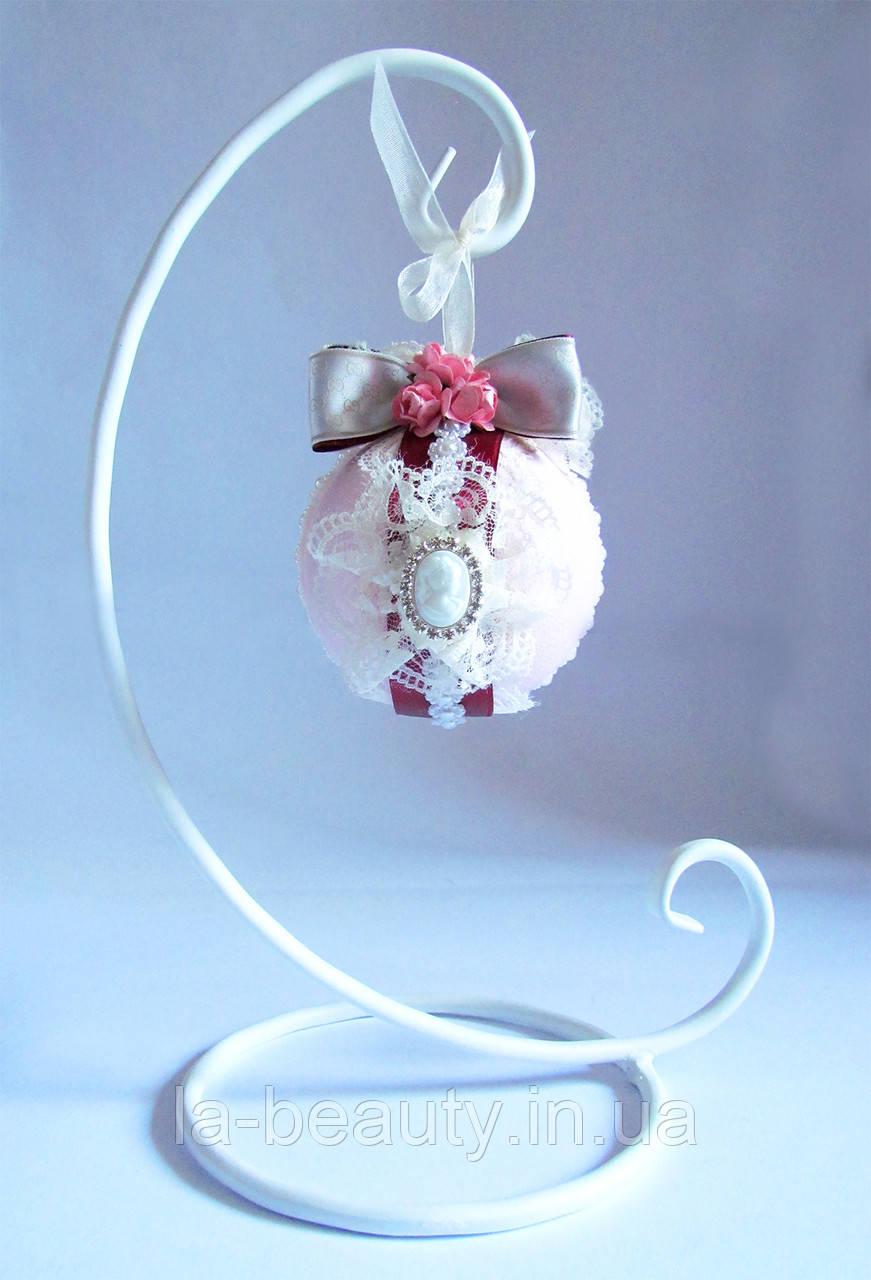 Модный дизайнерский декор - подарок с подставкой Розовый & бордо малый