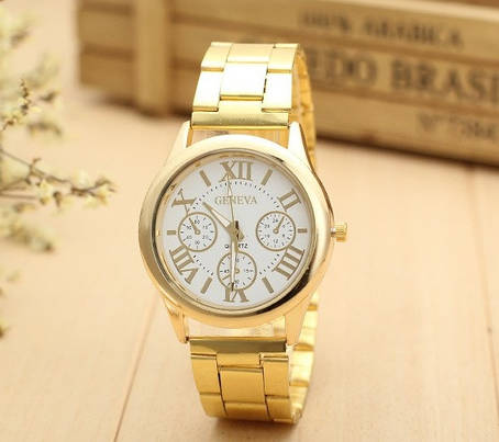 Мужские наручные часы Geneva золото, фото 2