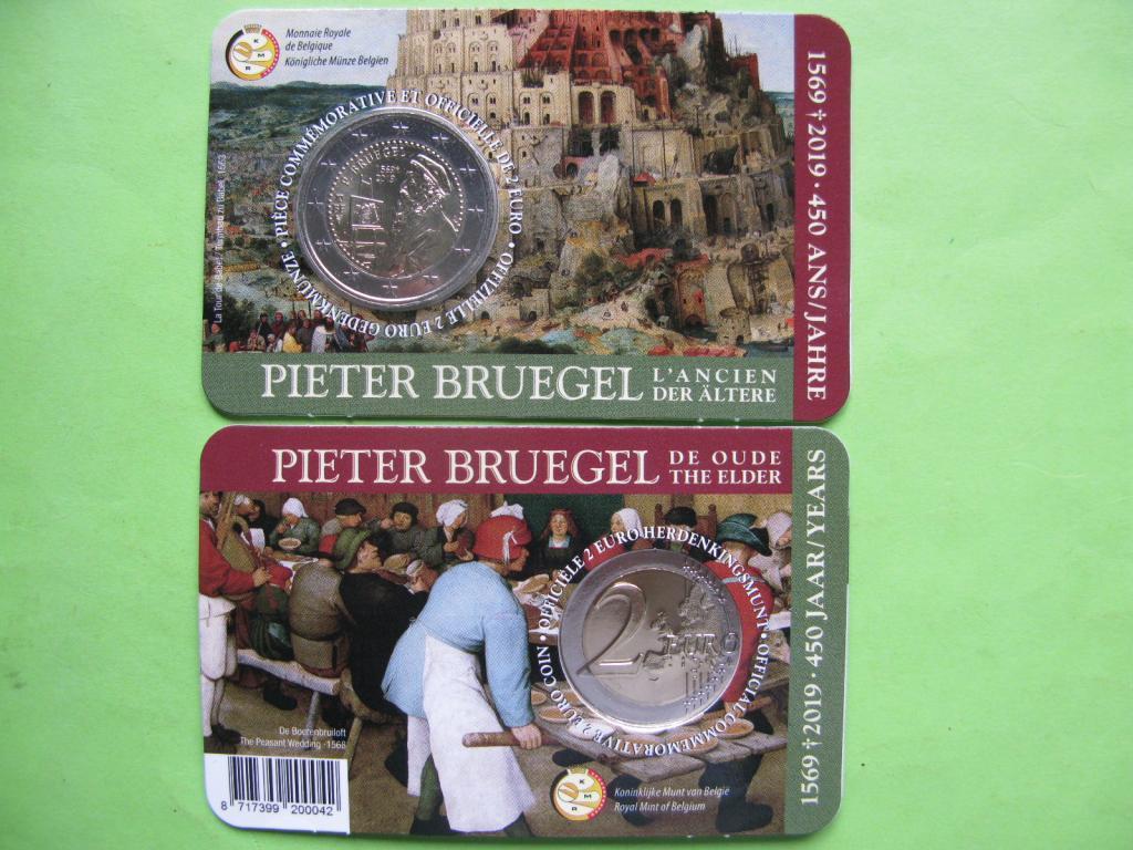 Бельгія 2 євро 2019 р. 450 років з дня смерті Пітера Брейгеля Старшого