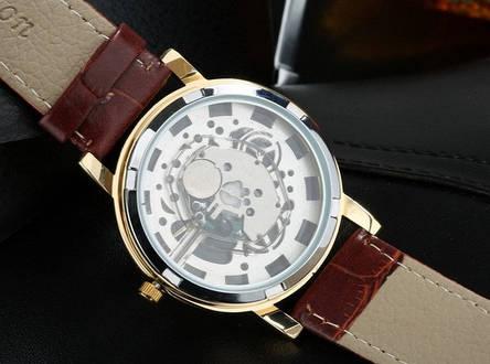 Мужские наручные часы Skelton с открытым механизмом, фото 2