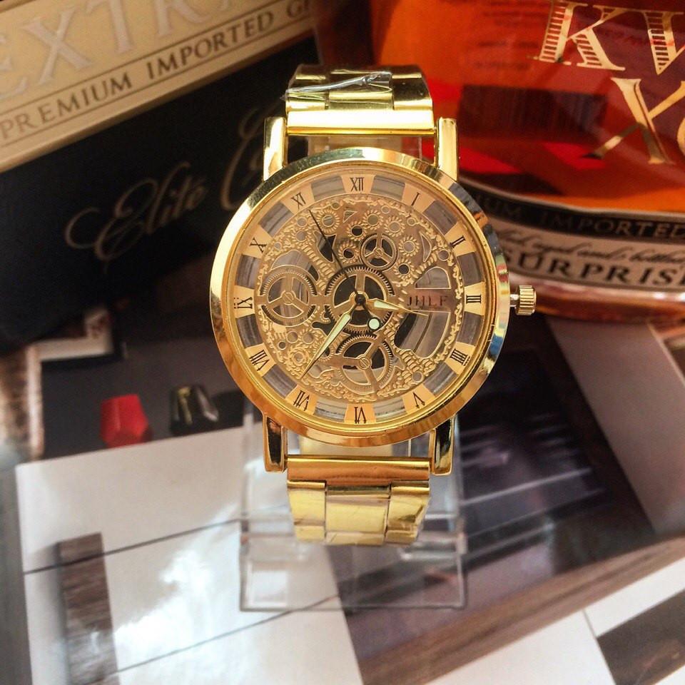 Золотые мужские часы Skeleton Gold