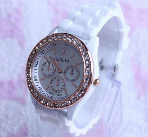 Женские наручные часы Geneva Swarovski белые, фото 2