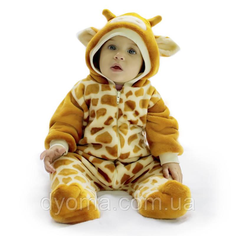 """Детский махровый комбинезон человечек """"Жирафик"""" для мальчиков и девочек"""