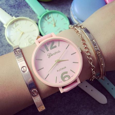 Стильные женские часы Женева розовые