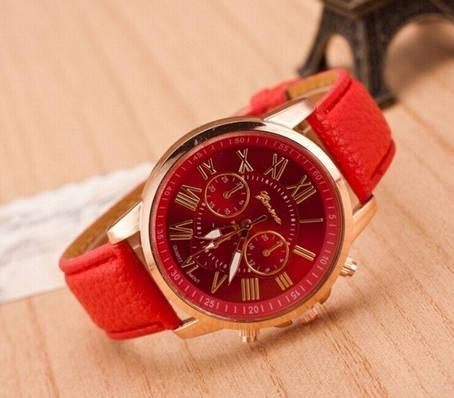 Красные женские часы Geneva, фото 2