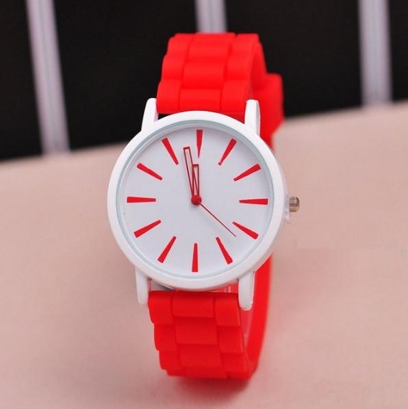 Часы женские наручные красные силиконовые