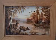 """Картина из янтаря """"Олени"""""""