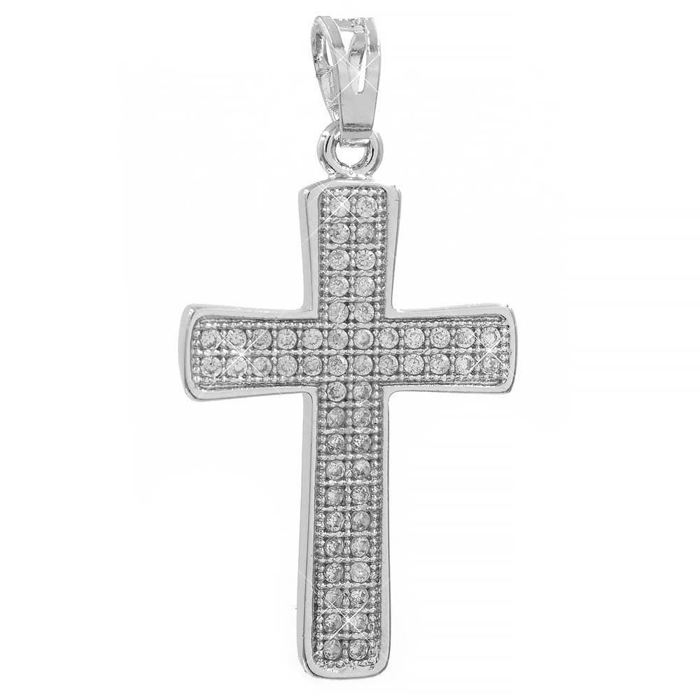 Подвеска Крест белое золото 2.5 см (Медицинское золото)